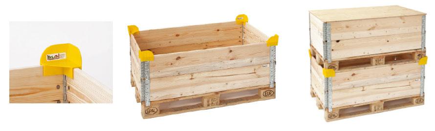 Holzaufsatzrahmen mit Stapelecken